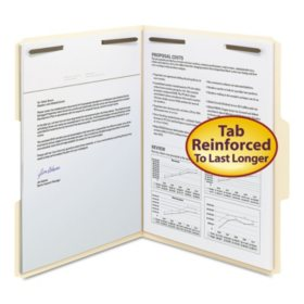 Smead 1/3 Cut Assorted Position Tabs Two Fastener File Folder, Manila (Letter, 50ct.)