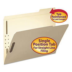 Smead 1/3 Cut Right of Center Position File Folder, Two Fasteners, Letter, Manila, 50ct.