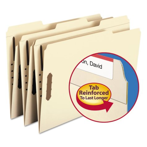 Smead 1/3 Cut Assorted Positions File Folders, Two Fasteners, Legal, Manila, 50ct.
