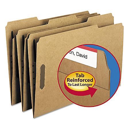 Smead 1/3 Cut Assorted Position Tab 11 Point Kraft Folders, Two Fasteners, Legal, Brown, 50ct.