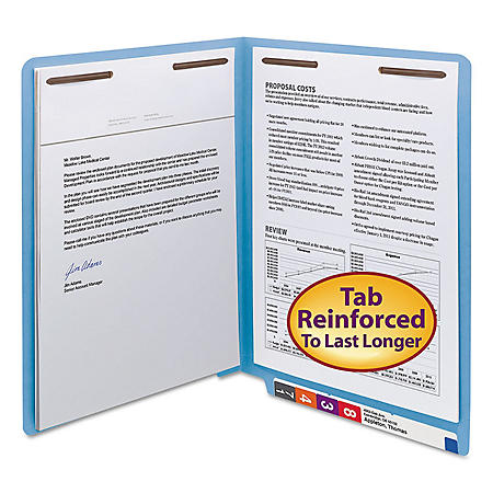 """Smead 3/4"""" Expansion WaterShed/CutLess File Folder, End Tab, 2 Fasteners, Letter, Blue, 50ct."""