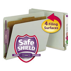 Smead End Tab Pressboard Classification Folder, Four Sections, Letter, Gray Green, 10ct.