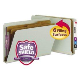 Smead End Tab Pressboard Classification Folder, Six Sections, Legal, Gray Green, 10ct.