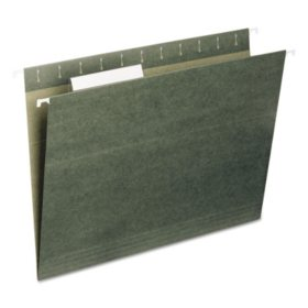 Smead 1/3 Cut Adjustable Positions Hanging File Folders, Green (Letter, 25ct.)