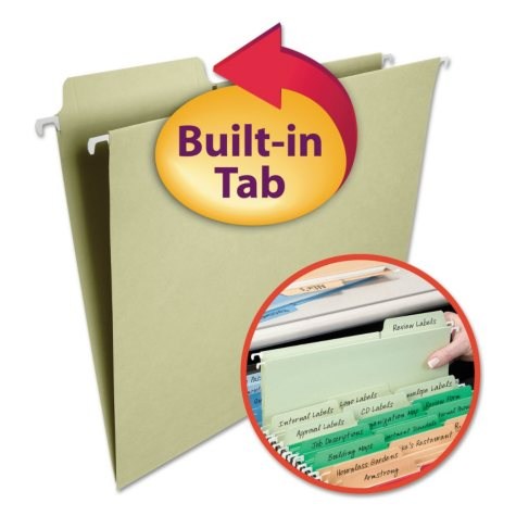 Smead 1/3 Cut Assorted Positions FasTab® Hanging File Folders, Moss Green (Letter, 20ct.)