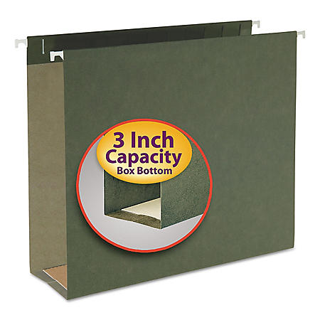Smead Three Inch Capacity Box Bottom Hanging File Folders, Green (Letter,  25ct.)