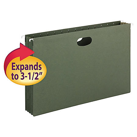 """Smead 3 1/2"""" Hanging File Pockets with Sides, Standard Green (Legal, 10ct.)"""