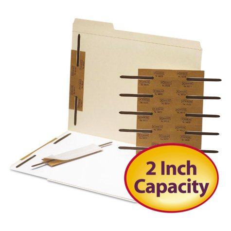 "Smead 2"" Capacity Reinforced Self-Adhesive Fasteners, Brown, 100ct."
