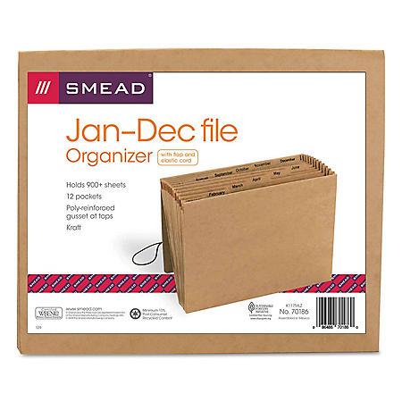 Smead 12 Pocket Jan-Dec Accordion Expansion File, Letter, Kraft