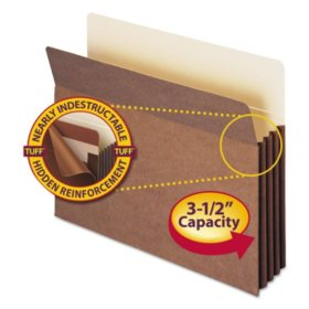 """Smead 3 1/2"""" Accordion Expansion File Pocket with Tyvek, Straight Tab, Letter, Redrope, 10ct."""