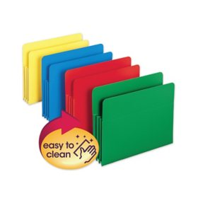 Smead® Exp File Pockets, Straight Tab, Poly, Letter, Assorted Colors, 4pk.