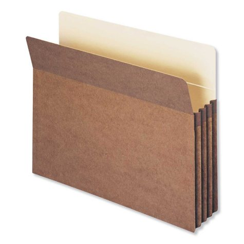 """Smead 3 1/2"""" Accordion Expansion File Pocket, Straight Tab, Letter, Redrope,  50ct."""