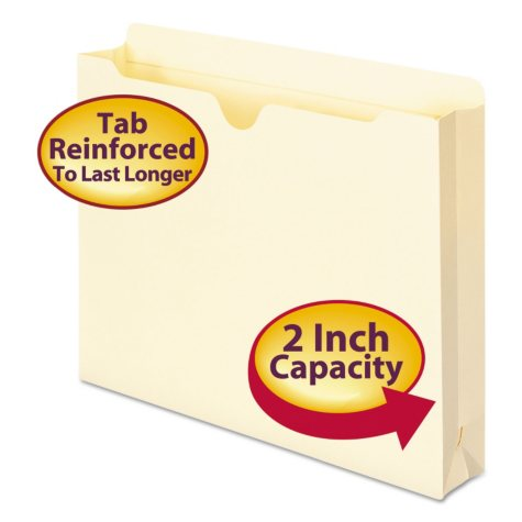 """Smead 2"""" Expansion File Jackets, Manila (Letter, 50ct.)"""
