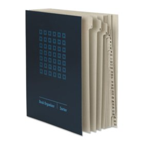 Smead 1-31 Daily Indexed Sorter, Top Tab, Letter, Navy Blue