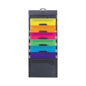 """Smead Cascading Wall Organizer, Gray with 6 Bright Color Pockets (14 1/4"""" x 33"""", Letter)"""