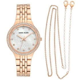 Anne Klein Women's Swarovski Crystal Accented Watch and Face Mask Chain Set