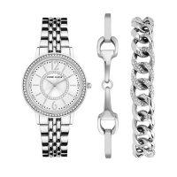 Anne Klein Women's Silver Tone Watch with Swarovski Crystal Accented Bracelets