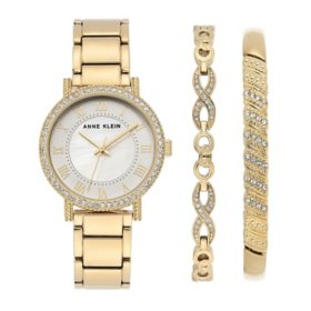 Anne Klein Women's Gold Tone Bracelet and Swarovski Crystal Accented Watch and Bracelet Set