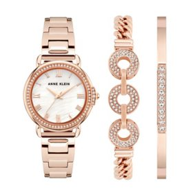 Anne Klein Women's Rose Gold and Swarovski Crystal Accented Watch and Bracelet Set