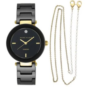 Anne Klein Women's Diamond Accented Ceramic Watch and Face Mask Chain Set