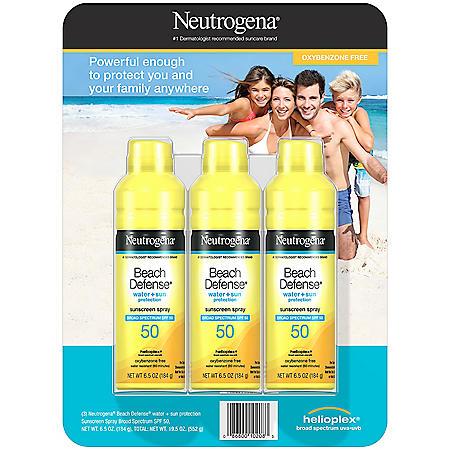Neutrogena Beach Defense Spray Body Sunscreen, SPF 50 (6.5 oz., 3 pk.)