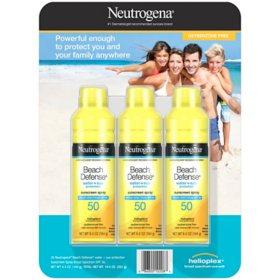 Neutrogena Beach Defense Spray Body Sunscreen, SPF 50 (6.5 oz., 3 pk.)