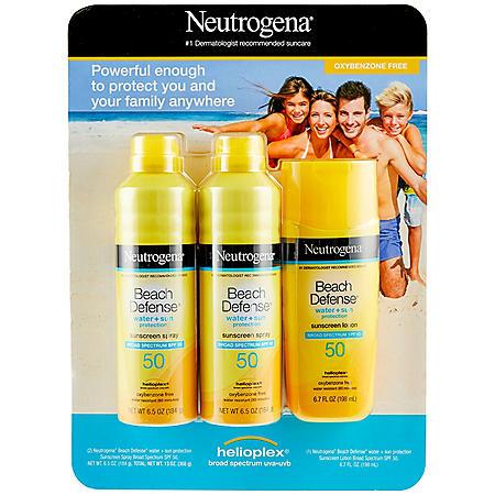 Neutrogena Beach Defense Body Sunscreen Body Spray & Lotion SPF 50 (3 pk.)