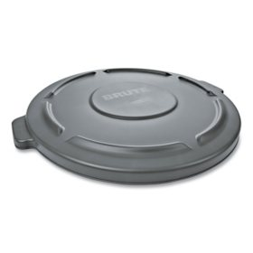 """Rubbermaid Commercial 22.25"""" Round Flat Top Lid, for 32-Gallon Round Brute Containers (Gray)"""
