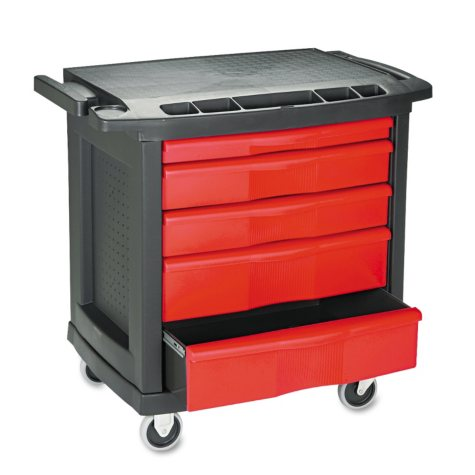 Rubbermaid Commercial - Five-Drawer Mobile Work Center, 32 1/2w x 20d x 33 1/2h -  Black Plastic Top