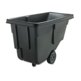 Rubbermaid Commercial - Tilt Truck, Rectangular, Plastic w/Steel Frame, 300lb Cap -  Black