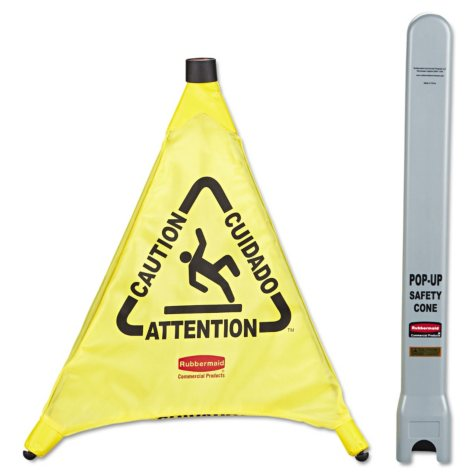 """Rubbermaid Commercial - Multilingual """"Caution"""" Pop-Up Safety Cone, 3-Sided, Fabric, 21 x 21 x 20 -  Yellow"""