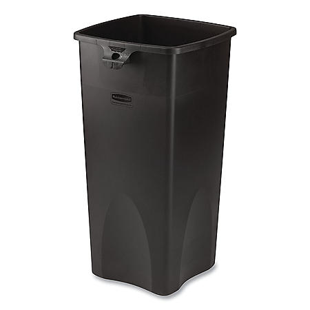 Rubbermaid Commercial Untouchable Square Trash Can - Black - 23 gal.