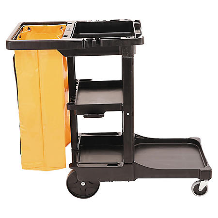 Rubbermaid Cleaning Cart with Zippered Bag, Black (3 Shelves)