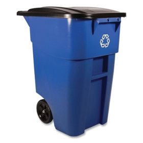 Rubbermaid Commercial BRUTE Recycling Rollout Trash Can with Hinged Lid, Blue (50 gal.)