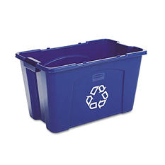Rubbermaid Commercial - Stacking Recycle Bin, Rectangular, Polyethylene, 18gal -  Blue