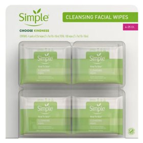 Simple Cleansing Facial Wipes (25 ct. each, 4 pk.)
