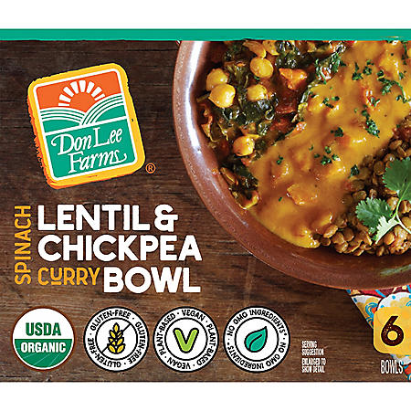 Don Lee Farms Organic Spinach Lentil and Chickpea Curry Bowls, Frozen (6 ct.)