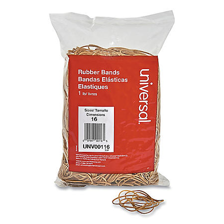 "Universal Rubber Bands, Size 16, 0.04"" Gauge, Beige, 1 lb Box, 1,900/Pack"
