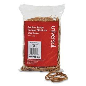 "Universal Rubber Bands, Size 33, 0.04"" Gauge, Beige, 1 lb Box, 640/Pack"