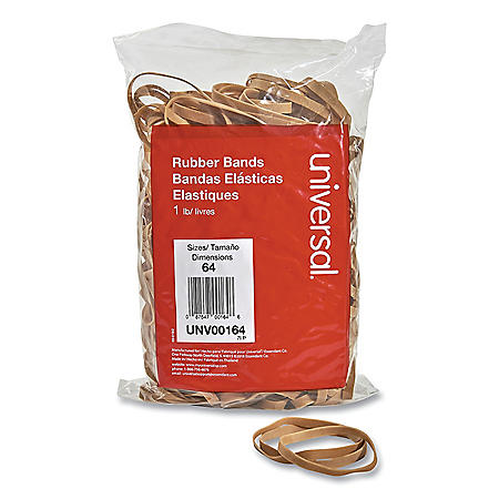 "Universal Rubber Bands, Size 64, 0.04"" Gauge, Beige, 1 lb Bag, 320/Pack"