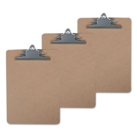 "Universal Hardboard Clipboard, 1"" Capacity, Brown, 3/Pack (Various Sizes)"
