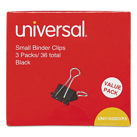 "Universal Steel Wire Binder Clips, 3/8"" Capacity, 3/4"" Wide, Small, 144 ct."