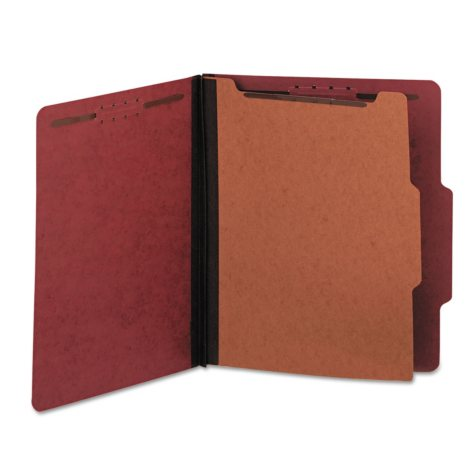 Universal Pressboard Classification Folder, Four-Section, Letter, Red, 10ct.