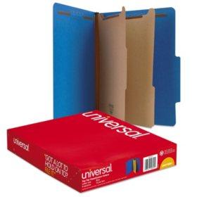 Universal Pressboard Classification Folders, Six-Section, Letter, Cobalt Blue, 10ct.