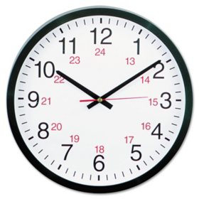 "Universal® 24-Hour Round Wall Clock, 12 5/8"", Black"