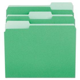 Universal File Folders, 1/3 Cut One-Ply Tab, Legal, Bright Green/Light Green, 100/Box (Various Types)