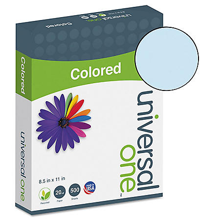 "Universal Colored Paper, 20lb, 8-1/2"" x 11"", 500 Sheets/Ream (Various Colors)"