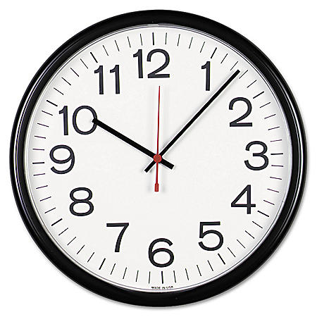 """Universal® Indoor/Outdoor Clock, 13 1/2"""", Black"""