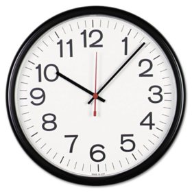 "Universal® Indoor/Outdoor Clock, 13 1/2"", Black"