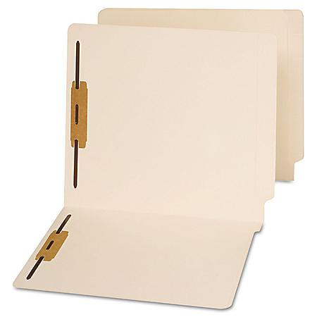 Universal End Tab Folders, Two Fasteners, Manila, 50/Box (Various Types)